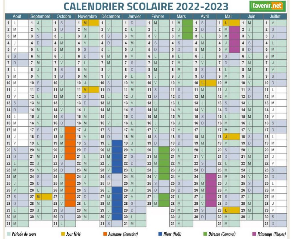 Calendrier Confirmation Canine 2022 Je dis NON! au nouveau calendrier scolaire 2022 2023 en Belgique